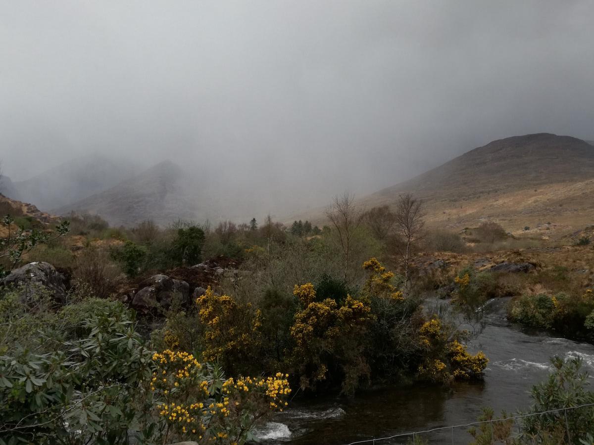 regen und nebel kurz vor lord brandons cottage im gap of dunloe