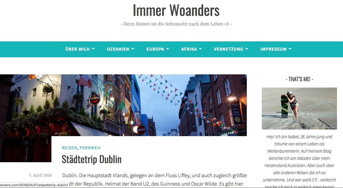 startseite des reiseblogs immerwoanders.com